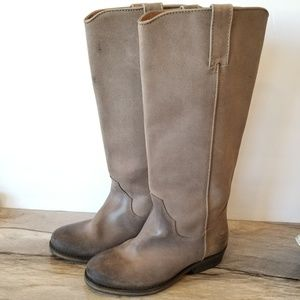 Bronx Tall Moto Boots Brown Leathet Distressed